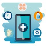 Smartphone with medical services app. Vector illustration design Royalty Free Stock Photos