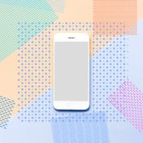 Smartphone with memphis color art background.flat lay Stock Image