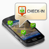 Smartphone with message bubble about check-in Royalty Free Stock Photo