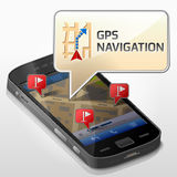 Smartphone with message bubble about gps navigation Royalty Free Stock Photos