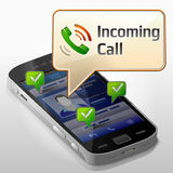 Smartphone with message bubble about incoming call. Dialog box pop up over screen of phone. Qualitative vector (EPS-10) illustration about smartphone Royalty Free Stock Photography
