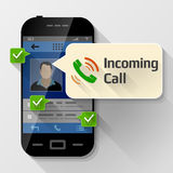 Smartphone with message bubble about incoming call Stock Photo