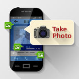 Smartphone with message bubble about photographing Royalty Free Stock Photo
