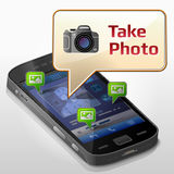 Smartphone with message bubble about photographing Royalty Free Stock Images