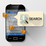 Smartphone with message bubble about search Royalty Free Stock Photos