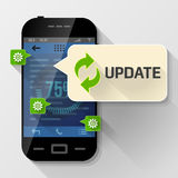 Smartphone with message bubble about update Stock Photo