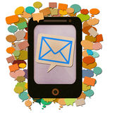 Smartphone with messages icon by recycled paper. Stock Images