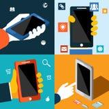 Smartphone met App Pictogrammen Stock Afbeeldingen