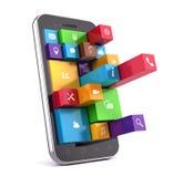 Smartphone met apps Stock Afbeeldingen