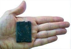 Smartphone met batterijprobleem, de mobiele brandwond van de telefoonbatterij gepast te oververhitten royalty-vrije stock afbeelding