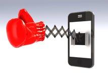 Smartphone met bokshandschoen Stock Foto