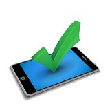 Smartphone met controleteken Stock Afbeelding