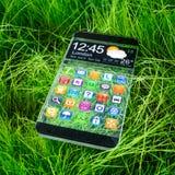 Smartphone met een transparante vertoning. Royalty-vrije Stock Foto