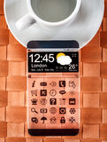 Smartphone met een transparante vertoning Stock Foto