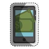 Smartphone met geldapparaat geïsoleerd pictogram Stock Afbeelding