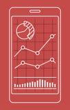 Smartphone met grafiek van forex of voorraadgegevens grafisch in dunne lijnstijl vector illustratie