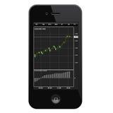 Smartphone met het traiding van eindtoepassing en forex grafiek op het scherm Stock Afbeelding