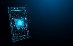 Smartphone met het winkelen online vormlijnen, driehoeken en het ontwerp van de deeltjesstijl stock illustratie
