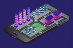 Smartphone met isometrische stads moderne desighn van de bouw stock illustratie