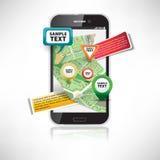 Smartphone met kaarten Stock Afbeeldingen