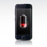 Smartphone met laag batterijsymbool Royalty-vrije Stock Foto's