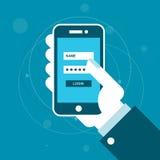 Smartphone met login vorm op het scherm Stock Afbeelding