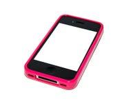 Smartphone met roze geval royalty-vrije stock afbeeldingen