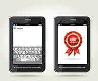 Smartphone met rozet beste keus en met onscr Royalty-vrije Stock Foto's