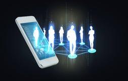 Smartphone met sociaal of bedrijfsnetwerk royalty-vrije stock foto's