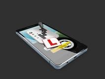 Smartphone met toestelverschuiving De online bestuurder van de registerschool 3d Illustratie isoleerde zwarte Royalty-vrije Stock Afbeelding