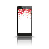 Smartphone Mirror Red Percents. Black smartphone with red percents on the white background Stock Images