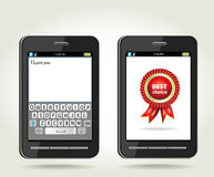 Smartphone mit bester Wahl der Rosette und mit onscr Lizenzfreie Stockfotos