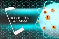 Smartphone mit Blockchain-Konzept Bitcoin-Vernetzungsschutz und -bienenwabe Stockbild