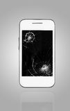 Smartphone mit defektem Schirm Stockfotos