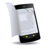 Smartphone mit dem Leicht schlagen des Buches Lizenzfreie Stockbilder