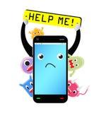 Smartphone mit dem Virus angesteckt lizenzfreie abbildung