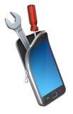 Smartphone mit den Hilfsmitteln Stockbilder