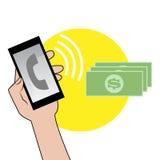 Smartphone mit Dollar Stockfotografie