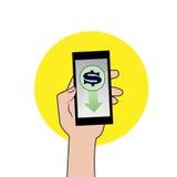 Smartphone mit Dollarzeichen Stockfotos