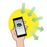 Smartphone mit Dollarzeichen Stockbild