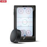 Smartphone mit Eishockey-puck und -feld auf Stockfotos