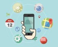 Smartphone mit flachen Ikonen Stockfotos