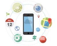 Smartphone mit flachen Ikonen Stockbild