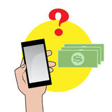 Smartphone mit Fragezeichen Stockbilder