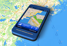 Smartphone mit GPS-Nautiker auf Karte Lizenzfreies Stockfoto