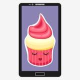 Smartphone mit kleinem Kuchen in der flachen Karikaturart Lizenzfreie Stockfotografie