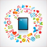 Smartphone mit Kommunikationsikonen lizenzfreie abbildung