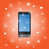 Smartphone mit Mediaanwendungsikonen Lizenzfreies Stockfoto