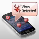 Smartphone mit Mitteilungsblase über Computer viru Stockfotos