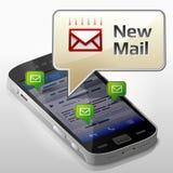 Smartphone mit Mitteilungsblase über neue Post Stockbild